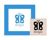 Personalized Butterfly Rubber Stamp