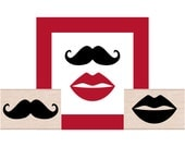 NEW for 2016 Lips and Mustache Rubber Stamp