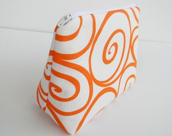 Cosmetic Bag Makeup Bag Zippered Pouch White and Orange Swirls Cotton Fabric