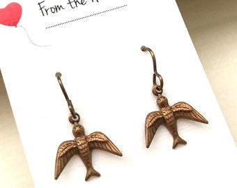 Antique Brass Sparrow Earrings, Mother's Day, Gifts for Her, Bird Earrings, Nature, Religious, Earrings, Dangle Earrings, Jewelry, Spiritual