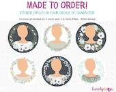Personal sticker circle set, avatar stickers, envelop seals, digital png clip art (AW05)