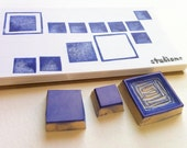 abstract squares rubber stamp set, hand carved stamp set