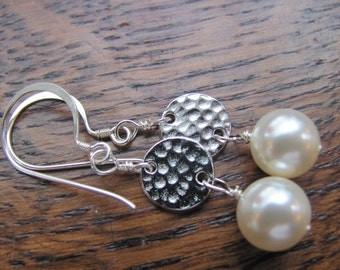Swarovski Pearls/sterling silver earwires/hammered silver circle links