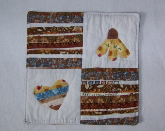 Flower, Heart and Selvages  Quilted Mug Rug Coaster or Mini Quilt