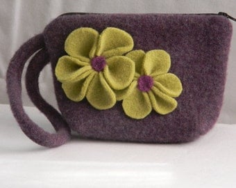 Felted Wristlet with Flower Embellishments