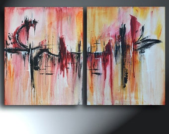 Abstract Painting Two canvas Set Original Abstract 32 x 20 Set Of Two Paintings