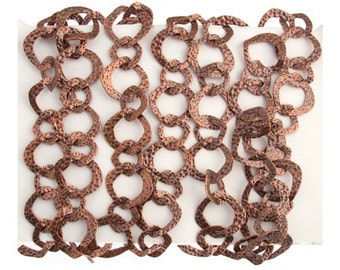 One Meter (3.28 Feet) Antique Copper Plated Chain-Hammered Irregular 25mm (212205)