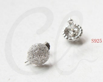 Two Pieces (One Pair) White Gold Plated on S925 Sterling Silver Rhinestone Crystal Earring Posts with Setting (WG118)