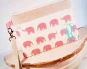 Monogrammed Linen Pink Elephants Wristlet Zipper Clutch Purse|Cell Phone Wallet|iPhone Sleeve|Mobile Accessories|blackberry|Nexus Case