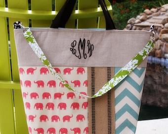 XL tote Large Diaper Bag|Tennis Tote Bag|Handbag|Keeta Collection Tote|Beach Bag|Linen Monogrammed Tote Bag|Elephants and Chevron Tote Bag