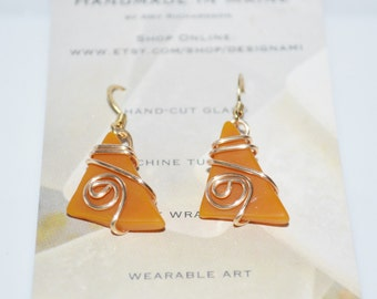 Beach inspired cut tumbled glass and wire wrap earrings-butterscotch orange glass summer jewelry-maine made wearable art