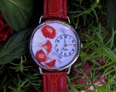 "Womens Watch, Red Wrist Watch with ""Hair Ball"" Flowers and Leather Band, Flower Watch"