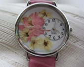 Pink Larkspur Watch With Bridal Wreath, Pressed Flower Watch,Women's Watch