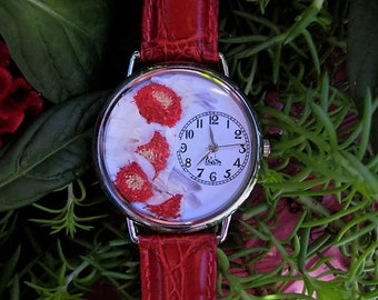 "Women's Watch,Red Wrist Watch with ""Hair Ball"" Flowers and Leather Band,Pressed Flower Watch,Cat Watch,Watch for Women,Red Watch with Flower"