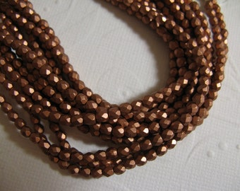 3mm Fire Polish Czech Glass Beads - Matte Metallic Copper  K0177 - 50 beads