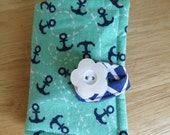 Tea Wallet in Navy Blue Anchors and White Roping on a Green Teal Background Tea Bag Holder