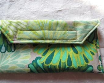 Eyeglass Case in Green Flowers on a Gray Background Eyeglass holder