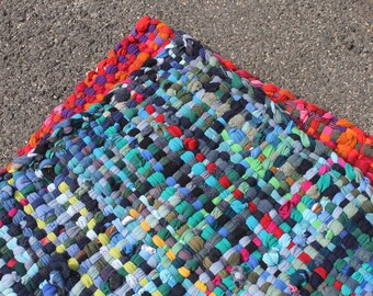 Handwoven Rug, Wool Rug, Crispina Rug, Pot Holder Rug, Potholder Rug 2.5x3.5ft - Ocean
