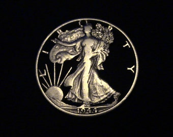 US Walking Liberty - cut coin pendant - .900 pure SILVER - 1944