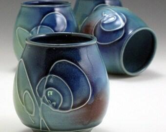 4 Handthrown, Porcelain, Hand Carved, Elegant, Stemless 16 OZ, Blue Yellow and Red Glazed, Wine Glasses, John Bauman