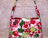 Small Vintage Mid Century Floral Fabric Purse Hand Bag Cotton Reds Greens Pinks Ginas Creations Original