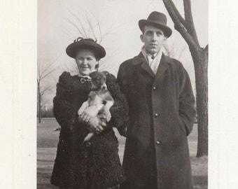 Original Vintage Photograph Man Woman & Terrier Dog  1944
