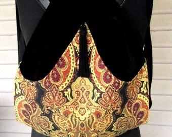 Paisley Backpack Black Velvet Renaissance Backpack Boho Backpack Boho Slingbag