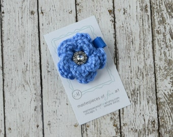 Small Blue Crocheted Flower Hair Clip with Rhinestone Center - crocheted flower hair bow - flower hair clips - flower hairbow - clippie