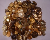 Metal gold tone button lot Gold tone buttons lot Craft supplies 100 Goldtone metal buttons Sewing supplies