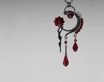 Red Swarovski Crystal Steampunk Pendant, Swarovski Necklace, Siam Swarovski Crystal, Steampunk Jewelry by Youniquely Chic, Thanatos v10