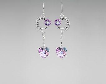 Vitrail Swarovski Crystal Earrings, Industrial Jewelry, Wire Wrapped, Pastel Swarovski Crystals, Feminine Earrings, Event Horizon II v13