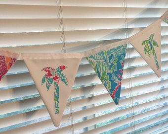 Custom Flag Banner, Bunting made with Lilly Pulitzer Lets Cha Cha fabric