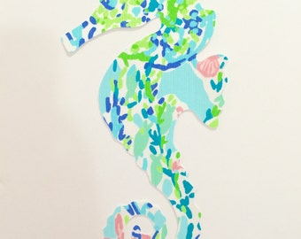 New custom made to order Seahorse Pillow made with Lilly Pulitzer Sky Blue Heaven fabric