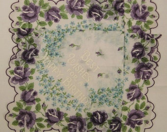 VTG HANKIE Forget me not purple roses Happy Birthday message Handkerchief Large  13 x 13 fluted edges Mint condition
