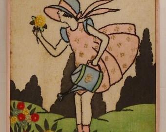 AMERICAN Folk Art EMJBROIDERY on linen young girl inGarden Folk Art Framed  15x12  Framed