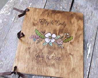 Custom Wedding Guest Book - Floral Accent