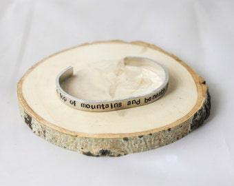 Cuff Bracelet - Boho Bracelet - Stamped Aluminum Bracelet - on top of mountains and beneath stars