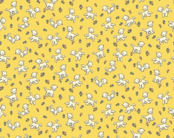 Clearance FABRIC TOY CHEST Lambs on Yellow by Riley Blake 1/2 yard