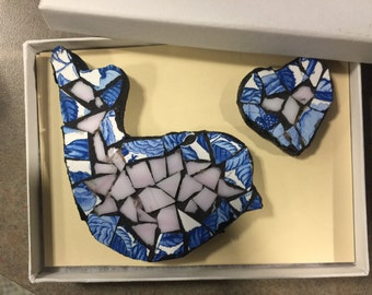 Two piece Mosaic Glass Refridgerator Magnets