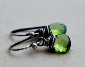 Peridot Earrings, Drop Earrings, August Birthstone, Wire Wrapped, Dangle Earrings, Lime Green, Gemstone Earrings, Sterling Silver, PoleStar