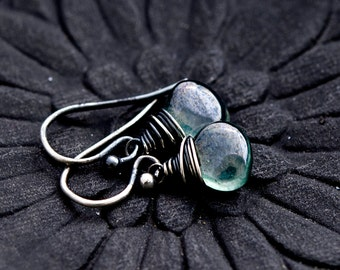 Pond Earrings, Teal Green, Drop Earrings, Dangle Earrings, Green, Sea, Blue, Sterling Silver, Wire Wrapped, Gemstone Earrings, PoleStar