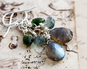 Labradorite Earrings, Dangle Earrings, Peridot Earrings, Drop Earrings, Moss Aquamarine,  Sterling Silver, Leaf Earrings, PoleStar