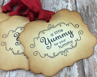 Yummy for Your Tummy Tags - Vintage Inspired Party Favor Tags