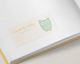 Printable Owl Baby Bookplate | Gender Neutral | Digital File | Baby Shower | Gift