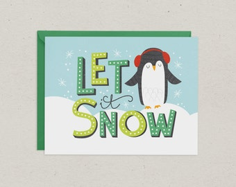Christmas Card | Let it Snow | Penguin