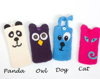 Crochet Animal Phone Case, Stocking Stuffer, Animal Iphone Case, Cell Phone Case, Phone Wallet, Cat, Dog, Fox, Owl,Panda, Pig