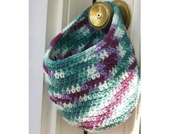 Crochet Basket, Hanging Basket, Cotton Door Knob Basket,   Hanging Basket, Turquoise Purple, Storage Basket