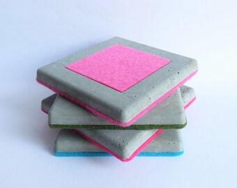Colorful Concrete Coasters - Set of 4 - Schickie Mickie Home and Living Original - 100% handmade