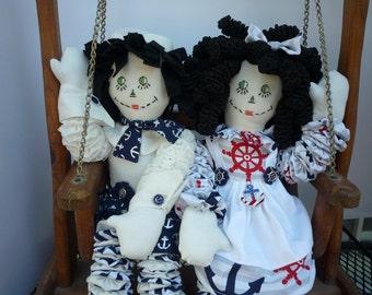 Yo Yo Sailor Doll set nautical  Raggedy Ann and Andy maritime, marine, naval, seafaring
