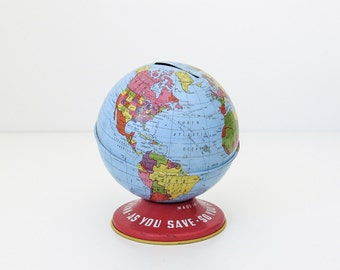 tin litho globe bank 4""